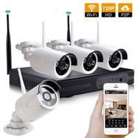 sistema de vigilancia hd a prueba de agua al por mayor-Inalámbrico 4CH HD 720P NVR Sistema CCTV Al aire libre a prueba de agua Cámara de Seguridad WIFI Vigilancia 4 canales NVR Kit
