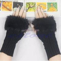 Wholesale Fur Arm Warmers - Lady Girl Warm Knitted Faux Fur Fingerless Winter Long Gloves Arm Warmer Mitten