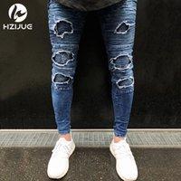 jeans gran agujero rodilla al por mayor-Hombres Jeans Hi-Street Hombres Knee Eversion Ripped Big Hole Hombres Jeans Streetwear Skateboard Pantalones rectos Hombre Casual Elástico Venta caliente Jeans