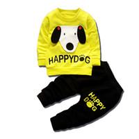 ingrosso camicie per cani-2018 Bambini Ragazzi Ragazze Abiti da cartone animato T-shirt per bambini Pantaloni 2Pz / Set Tute per bambini Vestiti per cani di moda per bambini
