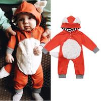 traje de raposa do dia das bruxas venda por atacado-Recém-nascido Bebé Rapazes Raparigas 3D Fox capuz Romper Macacão Conjuntos de roupa Cut Kids Animal Bodysuit Halloween Vestuário Costume