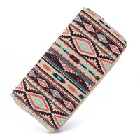 Wholesale woman tribal shorts - Sansarya 2017 Boho Striped Printing Canvas Long Women Wallet Ladies Card Holder Tribal Female Purse Bag With Cupreous Zipper