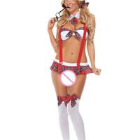 garota uniforme erótica venda por atacado-Xadrez Vermelho Uniforme Sling vermelho + gravata + Inglaterra saia Lingerie Conjunto Sexy Escola Estudante Menina sutiã aberto Fancy Erotic Sexy Trajes