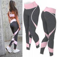 tozluk toptan satış-Spor Tayt Kadınlar Bahar Pamuk Ayak Bileği Uzunlukta Pantolon Iki Renk Dikiş Spor Nefes Push Up Kadın Legging