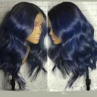 peluca rizada azul oscuro al por mayor-Dark Roots Blue Wig Glueless ondulado rizado ondulado 180% densidad sintética del frente del cordón pelucas con pelo del bebé a prueba de calor Ombre pelucas para mujeres negras