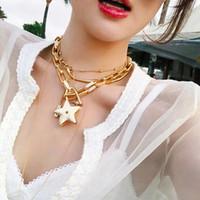 altın metal yıldızlar toptan satış-Rongho Vintage Metal Yıldız chokers kolye kadınlar için punk takı Altın link zinciri CHUNKY kolye yıldız kolye kolye bijoux