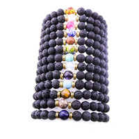 Wholesale bohemian bracelet diy - Fashion 8mm Natural Black Lava Stone Beads Bracelet DIY volcano Rock Essential Oil Diffuser Bracelet for women men