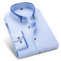 Wholesale Polka Dot Fashion Wear - Autumn New Men Dress Shirts Printed Polka Dot Fashion Long Sleeve Button-Down Men Casual Shirt Work Wear Formal Business Shirt