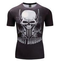 marka motorlar toptan satış-Davidson Harley Motor T-Shirt 3D Kafatası Kısa Kollu Hip Hop Moda Tee Gömlek Baskı Tasarlanmış Yaz T gömlek Erkekler Marka Tees Tops