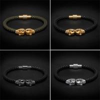ingrosso braccialetti intrecciati per gli uomini-Beichong Mens nero in vera pelle intrecciata Northskull Bracciale uomo in acciaio inossidabile per le donne Oro Nord cranio per le donne