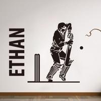 Wholesale personalised packaging - PERSONALISED cricket batsman player sports boys bedroom Mural Custom Name Vinyl Wall Stickers Boys Room Decor 44*55 cm