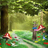 Wholesale background for digital photography for sale - Group buy Fantasy Forest Scenic Background for Photo Studio Digital Printed Mushrooms Birds Colorful Flowers Trees Kids Children Photography Backdrops