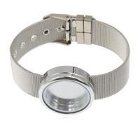 Wholesale Stainless Steel Glass Lockets - Wholesale 5pcs Plain Round Bracelet Floating Locket Memory Glass Locket With Stainless Steel Wristband (no charms)