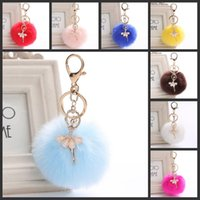 Wholesale multifunctional keychains resale online - Cute Dancer Ballet Girl Keychains Fashion Fluffy Puff Ball Pendant Fur Keyring multifunctional Key Chain For Women