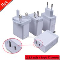 Wholesale power plug types - 29W QC 3.0 fast charging power adapter USB + type C charger 5v 2.4A 9v 2A 100v-240v PD USB C wall charger charging US UK EU PLUG