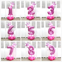Wholesale baby shower crowns resale online - Fashion Inches Helium Balloons Crown Number Shaped Aluminum Foil Balloon For Baby Shower Happy Birthday Party Decorations Supplies tk BB