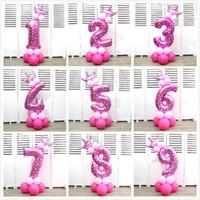 globos con forma de bebe al por mayor-Moda 32 pulgadas globos de helio número de corona globo de papel de aluminio en forma de para la fiesta de bienvenida al bebé feliz cumpleaños decoraciones para fiestas suministros 5tk BB