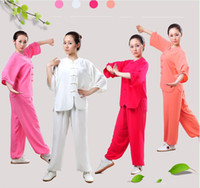 Wholesale white pants suits for girls resale online - Tracksuits Chinese Fighting style Quarter Sleeve Tai chi clothing uniform kungfu outfit Moring exercise suits for women girl Top Pants