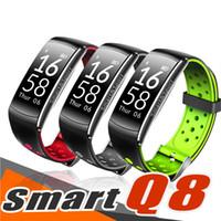 relojes inteligentes andriod al por mayor-Presión Q8 rastreador de ejercicios inteligente de Sangre del ritmo cardíaco del sueño remoto de la cámara de oxígeno Pulsera Smart Monitor de Andriod teléfono inteligente