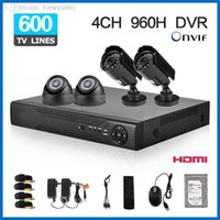 Wholesale Security Cameras 1tb - 1TB HDD with 4CH CCTV dvr System 4 channel AHD 960H DVR Kit 4pcs 600TVL security Camera Mobile & Network P2P Cloud remote view