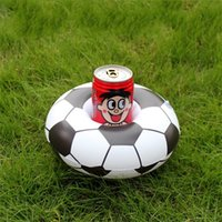 Wholesale drink cups holder resale online - Cartoon Football Inflation Saucer Russia World Cup Water Drinks Floating Cup Seat Coaster Fashion Swimming Pool Toys Holder jx Y