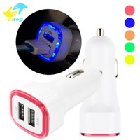 Wholesale Eu Socket Usb - LED Car charger Dual usb Charger 5V 2.1A LED Luminous Adapter Socket Car adapter For iPhone7 Charger 2a Adapter