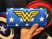 Wholesale Blue Wonder Blueing - New Arrival DC comics wonder woman Wallet tri fold Hasp Long wallet Fashion Lady's Purse