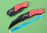 üst karambit bıçağı toptan satış-Toptan kırmızı karambit OTOMATIK otomatik çelik kolu çakı Kamp Avcılık Survival bıçak Cowskin kın hediye aracı Ücretsiz kargo