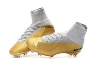 sapatos de futebol superfly ag venda por atacado-O futebol das mulheres do ouro branco CR7 calça Mercurial Superfly FG / AG V caçoa sapatas do futebol das crianças da juventude das sapatas do futebol