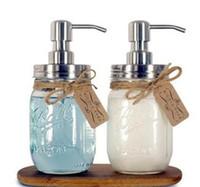 Wholesale soap dispenser pumps wholesale - DIY Hand Soap Dispenser pump Stainless Steel Mason Jar Countertop Soap Lotion Dispenser perfect for bathroom
