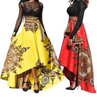 şemsiye etek moda toptan satış-Etnik Desen Düzensiz Kadın İlkbahar Yaz Parti Ziyafet Uzun Şemsiye Etek moda rahat sıcak