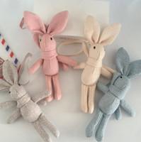blumenstrauß spielzeug diy großhandel-50 STÜCKE Nette Kaninchen Puppe Anhänger Plüschtier Neue Leinen langfuß Kaninchen Tasche Bouquet Hängen Diy Schal Puppe AIJILE