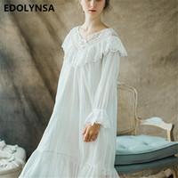 c933c5519 Camisolas Sleepshirt Rendas Brancas Pijamas Camisola Do Vintage Roupa  Interior Nightwear Sólida Camisola Feminino Vestido de Casa   H364
