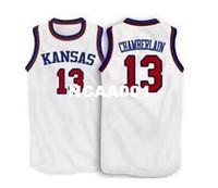 kansas basketball großhandel-Männer # 13 Wilt Chamberlain Kansas Jayhawks KU College-Trikot Größe S-4XL oder benutzerdefinierte beliebiger Name oder Nummer Trikot