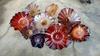 Wholesale Museum Art - Luxury Murano Glass Flower Plates Wall Art Chihuly Art Colored Glass Hanging Plates Anqique Style Wall Art for Museum Hotel Home Decoration