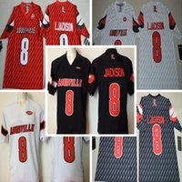 Wholesale cheap american football shirts - New Louisville Cardinals #8 Lamar Jackson Mens Vintage College American Football Grey Sports Shirts Team Jerseys Cheap Stitched Embroidery