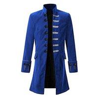 coole trenchcoats großhandel-Weinlese Steampunk Männer Mantel kühle gotische Tailcoat lange Jacken Fashion Retro Knopf Trench Coats Männlich Outwear Patry Uniform Kostüm