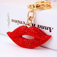Wholesale Rhinestone Lips Charms - Rhinestone Keychain Red Lip Cute Women Key Chain Pendant Keyring Purse Handbag Bag Charms Trinket Accessorices Keyrings G27Q