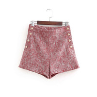 ingrosso shorts da donna tweed-2018 donne bottoni vintage tweed Bermuda Shorts da donna casual hot chic vita alta pantaloni corti pantalones cortos P140