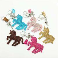 Wholesale red carabiner - 12 Colors Crystal Unicorn Keychain Diamond Unicorn Pony tassel Key Chain Carabiner Key Ring Bag Hangs Fashion Jewelry DROP SHIP 340004