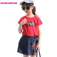 ropa antigua para niños al por mayor-2018 Baby Girl Fashion Set Girl's 2pieces Kids Clothing Set Lovebead camiseta y falda color de rosa para niños de 5-15 años