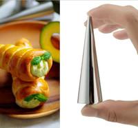 ferramenta de cozinha em espiral venda por atacado-Diy cones de cozimento espiral de aço inoxidável tubos de croissant chifre de pão pastelaria fazer ferramentas de molde molde do bolo de cozimento cozinha, bar de jantar