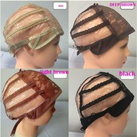Wholesale adjustable net wig cap resale online - Full Front Lace Wig Caps For Making Wig Adjustable Straps Medium Size CAP Net In Extensions