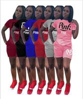 Wholesale Girls Purple Tracksuit - 2018 Summer PINK Letter shorts suit 2pcs set short sleeve T-shirt+ Shorts pants love pink Outfits Tracksuit Set track Suit Sportswear suit