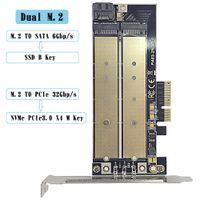 ssd kartları toptan satış-Çift Yuvalı M.2 NGFF - PCIe Adaptör kartı, M2 SSD NVMe - PCIe 3.0 X4 32Gbp / s M-Anahtar, M2 SSD - SATA 6Gbp / s B-anahtar M2 SSD2230 2242 2260 2280 22110