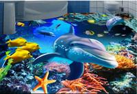 baldosas de vinilo adhesivo al por mayor-vinilo para papeles tapiz Underwater ocean world dolphin tile floor pvc Suelos autoadhesivos