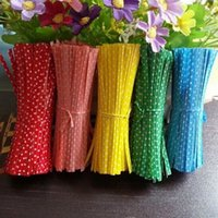 cravate de couleur métallique achat en gros de-Metallic Dot Twist Ties Fil Cello Sacs Lollipop Pack Fixation D'étanchéité Pour Cake Pops Couleur De Bonbons