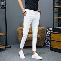 ingrosso i vestiti dei pantaloni dell'ufficio-2018 Primavera e l'estate nuovi pantaloni da uomo Slim Slim colore semplice moda sociale Business Casual ufficio Mens Dress Pants