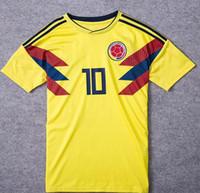 Wholesale National Uniforms - Thai AAA National Team Colombia 2018 Home Soccer Jersey JAMES FALCAO Soccer Uniform CUADRAD AGUILAR GUARIN SANCHEZ ESCOBAR Football Shirt