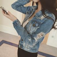 ingrosso sottile giacca di denim-Abbigliamento donna 2018 Giacca di jeans nuova moda era sottile selvaggio Cowboy Hole Jeans Jacket Women